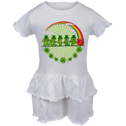 Grateful Dead - Leprechaun Bears White Toddler Ruffle Dress