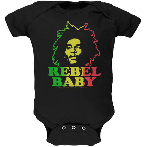 Bob Marley - Rebel Baby Black Baby One Piece