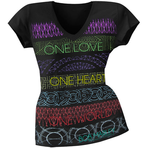 Bob Marley - One Love One Heart One World Juniors V-Neck T-Shirt