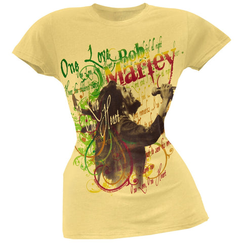 Bob Marley - One Love Lyrics Juniors T-Shirt