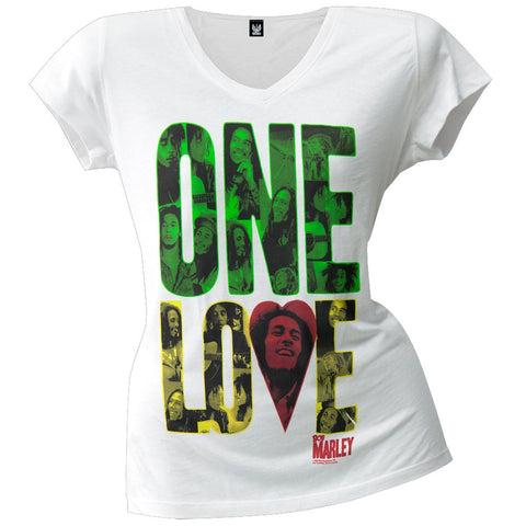 Bob Marley - One Love Block Juniors V-Neck T-Shirt