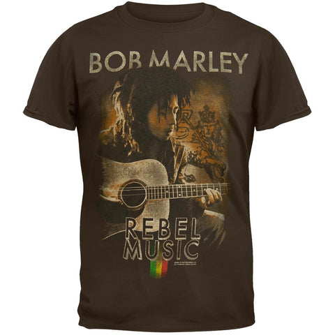 Bob Marley - Rebel Music Guitar Soft Adult T-Shirt