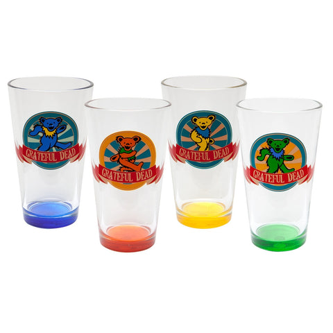 Grateful Dead - Dancing Bear Circles Pint Glasses 4 Pack Set