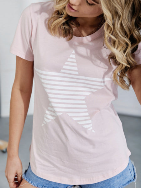Evie t-shirt- pink/white