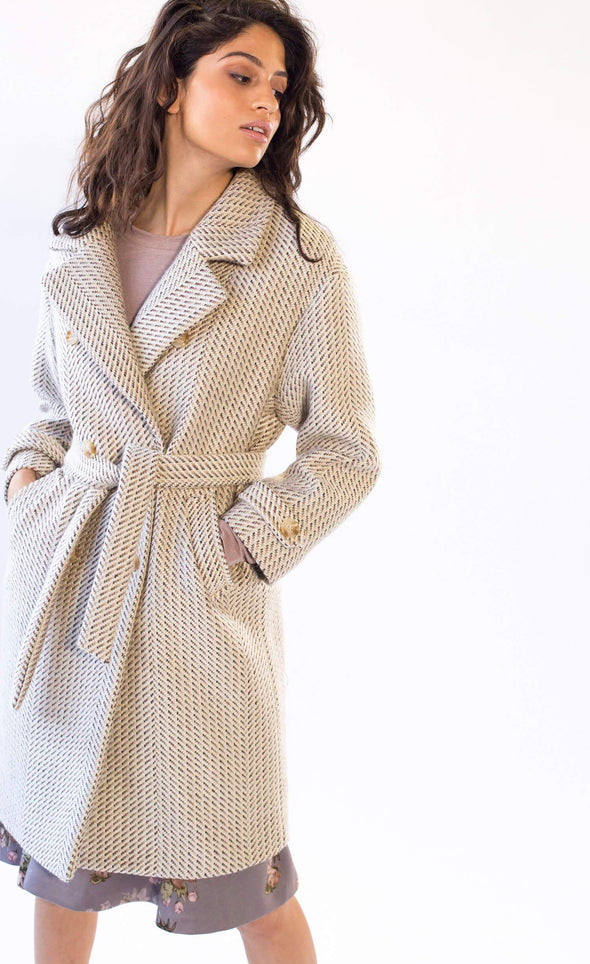 Anna Molly Coat Beige - Pink Martini Collection