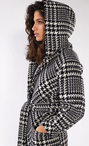 Carmen Sandiego Coat Black and White - Pink Martini Collection