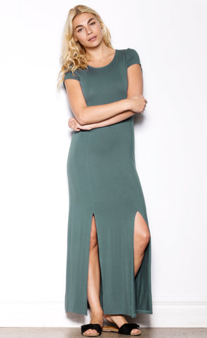 True Slit Dress Green - Pink Martini Collection