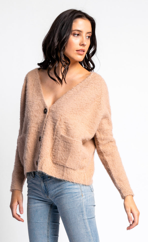 The Fluffy Buttoned Sweater - Pink Martini Collection