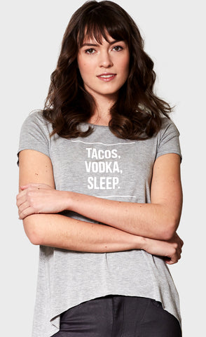 Tacos, Vodka, Sleep Tee Grey