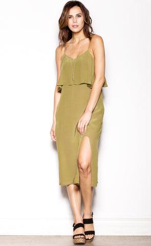 Midi Up Dress Olive - Pink Martini Collection