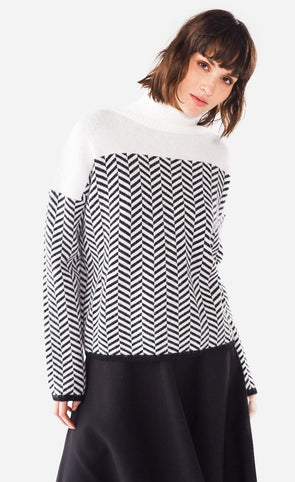 The Luna Chevron Sweater Black