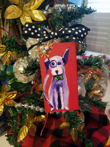 Dog Mini Stretched Canvas Ornament