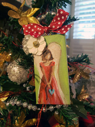 Angel Mini Stretched Canvas Ornament