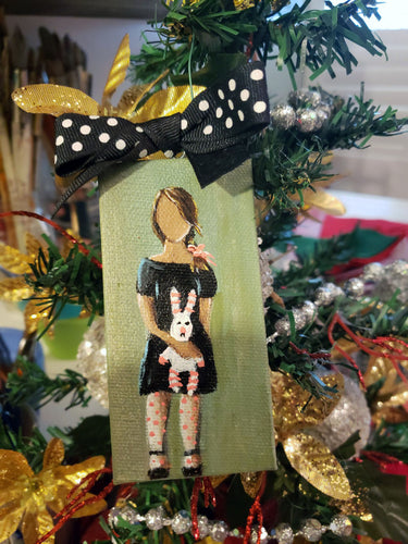 Girll Mini Stretched Canvas Ornament