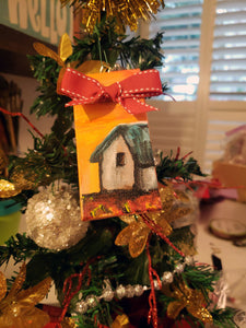 House Mini Stretched Canvas Ornament