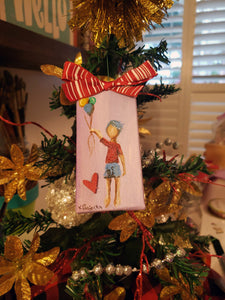 Balloon Boy Mini Stretched Canvas Ornament