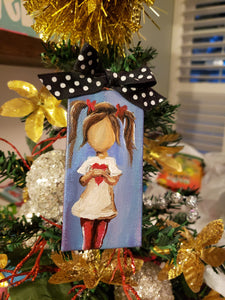 Girl with Pigtails Mini Stretched Canvas Ornament