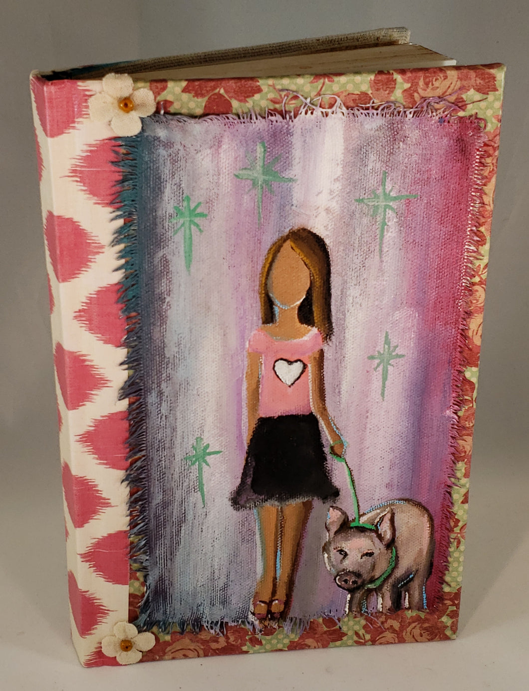 Girl and her pig.  Medium Fine Art Book