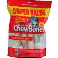 The Rawhide Express Natural 1-Pound Knotted Bones Dog Chew, Small