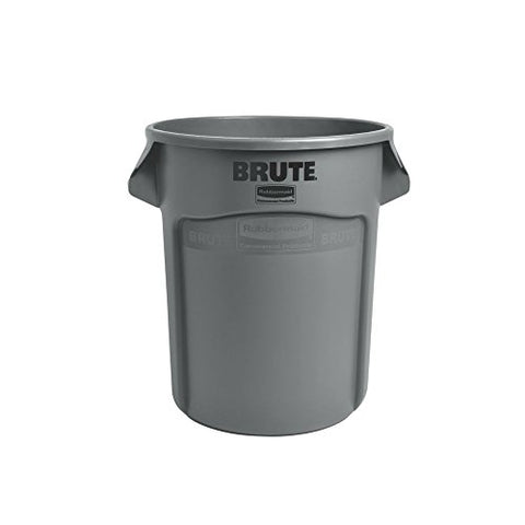 Rubbermaid Commercial BRUTE Heavy-Duty Round Waste/Utility Container with Venting Channels, 20-gallon, Gray (FG262000GRAY)