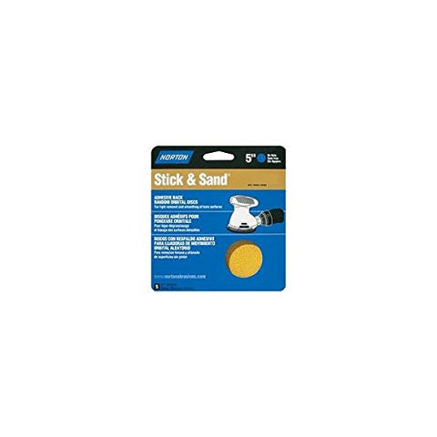 "Norton 48907/05455 5"" 80 Grit Cloth Discs 5 Count"
