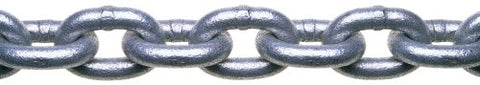 "Campbell 0143436 System 3 Grade 30 Low Carbon Steel Proof Coil Chain in Square Pail, Hot Galvanized, 1/4 Trade, 0.26"" Diameter, 100' Length, 1300 lbs Load Capacity"
