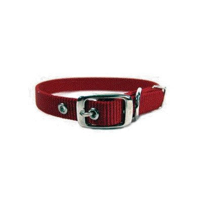 "Single Thick Dog Collar [Set of 3] Size: 12"", Color: Red"
