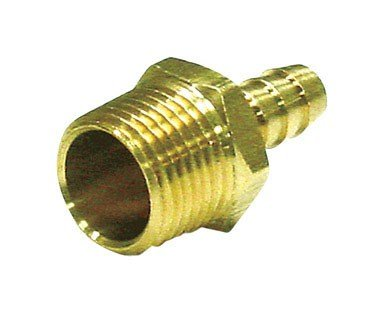 "Jmf Hose Barb 3/8 "" Barb X 1/4 "" Mpt Yellow Brass 150 Psi Lead Free"