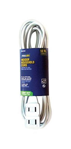 Projex Indoor Extension Cord 16/2 SPT-2 12 ft. L White