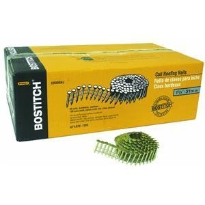BOSTITCH CR3DGAL 1-1/4-Inch Smooth Shank 15 Inch Coil Roofing Nails, 7,200-Qty.