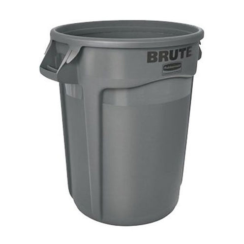 Rubbermaid Commercial BRUTE Heavy-Duty Round Waste/Utility Container with Venting Channels, 32-gallon, Gray (FG263200GRAY)