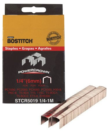 "Bostitch Stanley STCR50191/4-1M 1/4"" Power Crown Staples 1,000 Count"