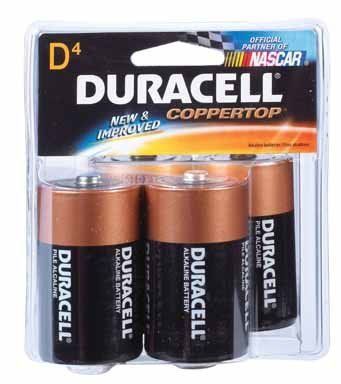 DURACELL COPPERTOP SAVER BATTERIES, SIZE: D, 4/PK