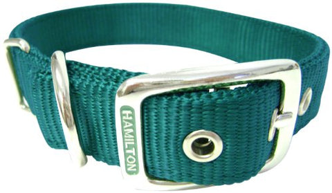Hamilton Double Thick Nylon Deluxe Dog Collar, 1-Inch by 26-Inch, Dark Green