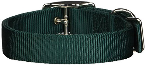 Hamilton Double Thick Nylon Deluxe Dog Collar, 1-Inch by 20-Inch, Dark Green