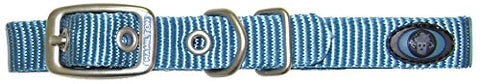 Hamilton B ST 14OC Brushed Hardware Single Thick Nylon Deluxe Dog Collar, 5/8 x 14-Inch, Ocean Blue