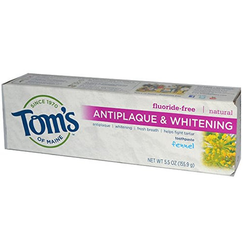 Tom's of Maine Natural Fluoride-Free Antiplaque & Whitening Toothpaste, Fennel 5.50 oz (Pack of 5)