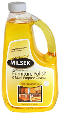 Milsek Furniture Polish and Cleaner with Lemon Oil, 64-Ounce, LM-64