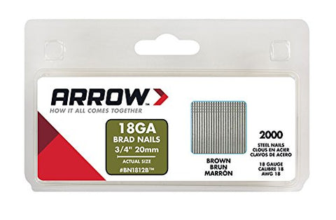 Arrow Fastener BN1812BCS Genuine 3/4-Inch, 18-Gauge Brown Brads, 2,000-Pack