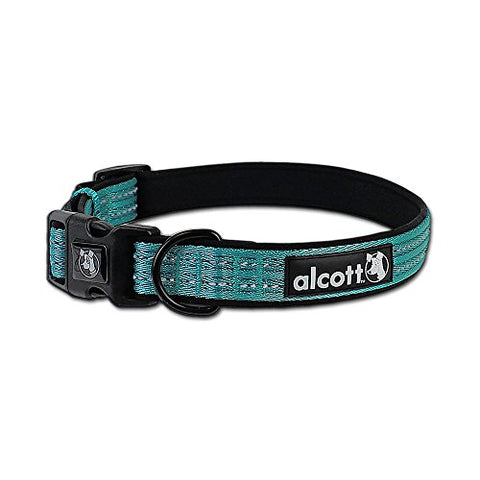 Alcott Adventure Dog Collar with Reflective Stitching & Neoprene Padding, Large, Blue