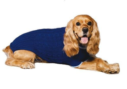 Fashion Pet Classic Cable Dog Sweater, Cobalt Blue, Large