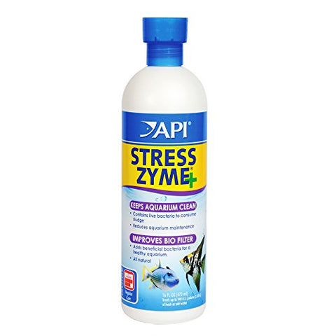 API STRESS ZYME Freshwater and Saltwater Aquarium Cleaning Solution 16-Ounce Bottle