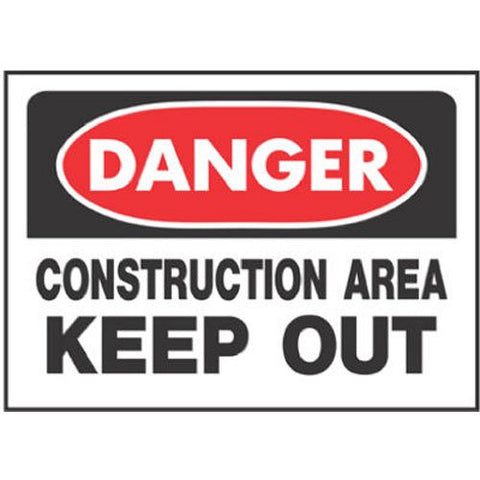 "hy-ko prod co 520 10"" X 14"", Red, Danger Construction Area Keep Out Sign"