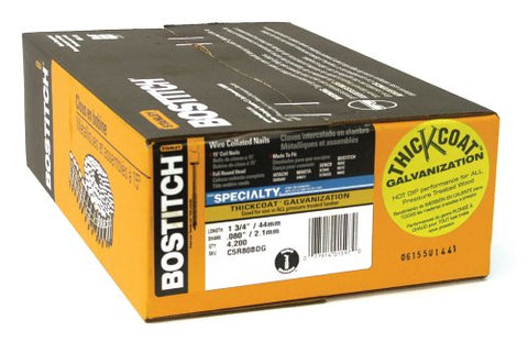 Bostitch C5R80BDG Thickcoat 1-3/4-Inch by .080-Inch by 15 Degree Ring Shank Coil Siding Nail (4,200 per Box)