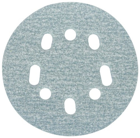 "Norton 07660703219 3X High Performance Hook and Sand Universal Vac Hole Paper Abrasive Disc with Hook and Loop Attachment, Fiber Backing, Ceramic Aluminum Oxide, 5 and 8 Holes, 5"" Diameter, Grit P180 Fine (Pack of 10)"