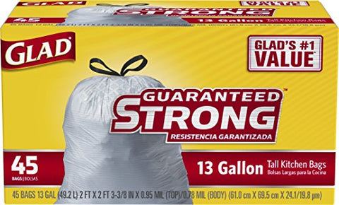 Glad Tall DrawstringTrash Bags - 13 Gallon - 45 Count (Packaging May Vary)