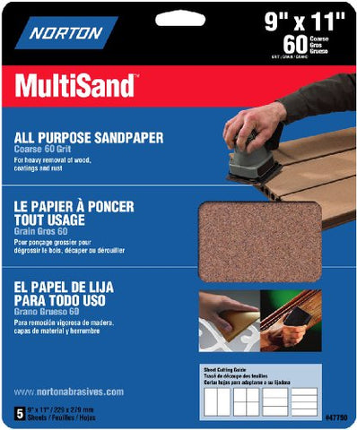 Norton 47750 Multisand Sandpaper 60 Grit, 9-Inch x 11-Inch, 3-Pack