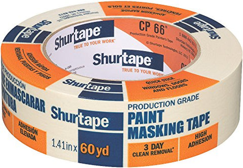 Shurtape CP 66 Contractor Grade, High Adhesion Masking & Painter's Tape, 36mm x 55m, Natural, 1 Roll (102803)