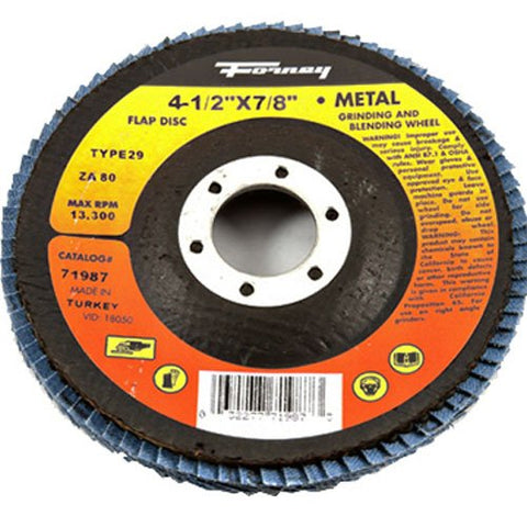 Forney 71987 Flap Disc, Type 29 Blue Zirconia with 7/8-Inch Arbor, 80-Grit, 4-1/2-Inch