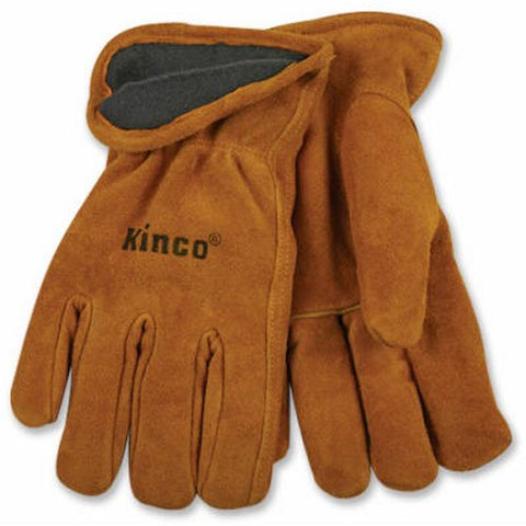 KINCO 50RL-L Men's Lined Suede Cowhide Leather Gloves, Heat Keep Thermal Lining, Large, Golden